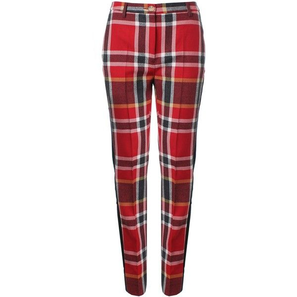Vivienne Westwood Tartan Tuxedo Trousers ($265) ❤ liked on Polyvore featuring pants, trousers, vivienne westwood, pants and shorts, red tuxedo pants, velvet trousers, plaid pants, zipper pants and tux pants