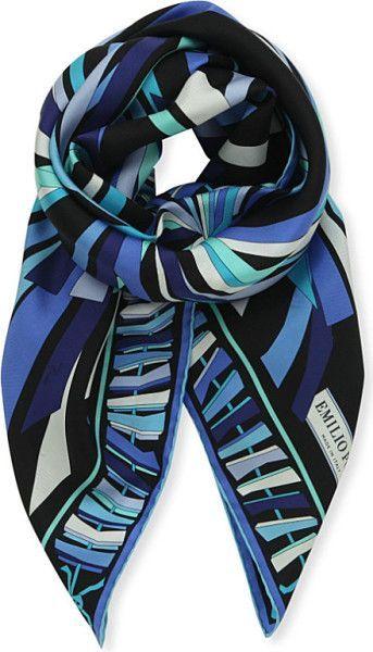 Emilio Pucci Printed Silk Scarf in Blue (Blk blue):