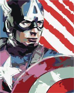 Капитан Америка - Раскраска по номерам без коробки ...