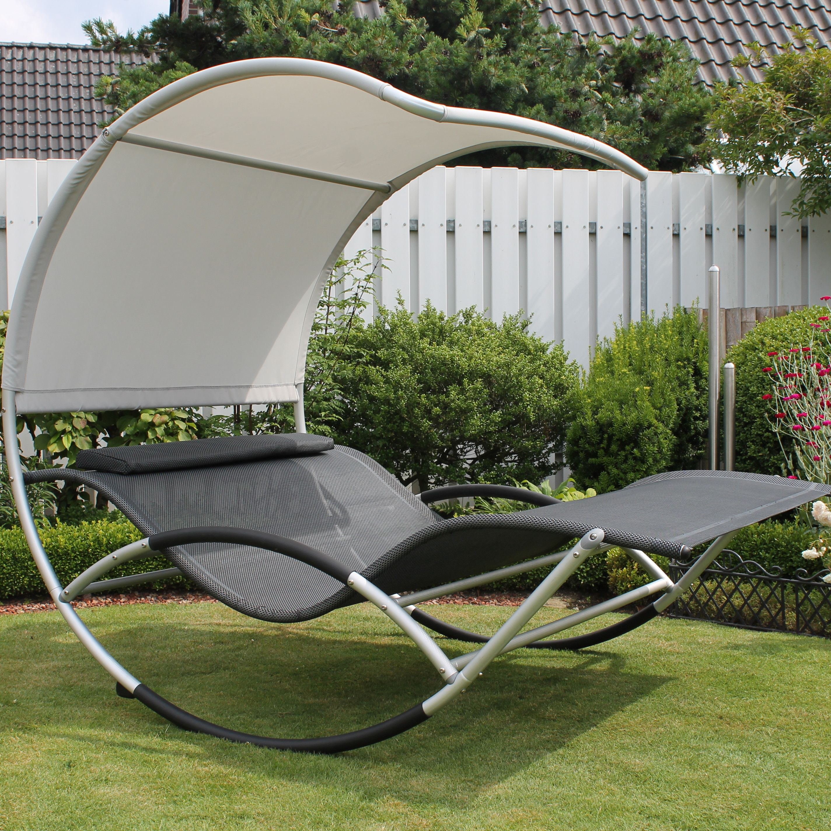 Garten Lounge Flo Leco Jumbo Double Sun Lounger With Cushion House Deco