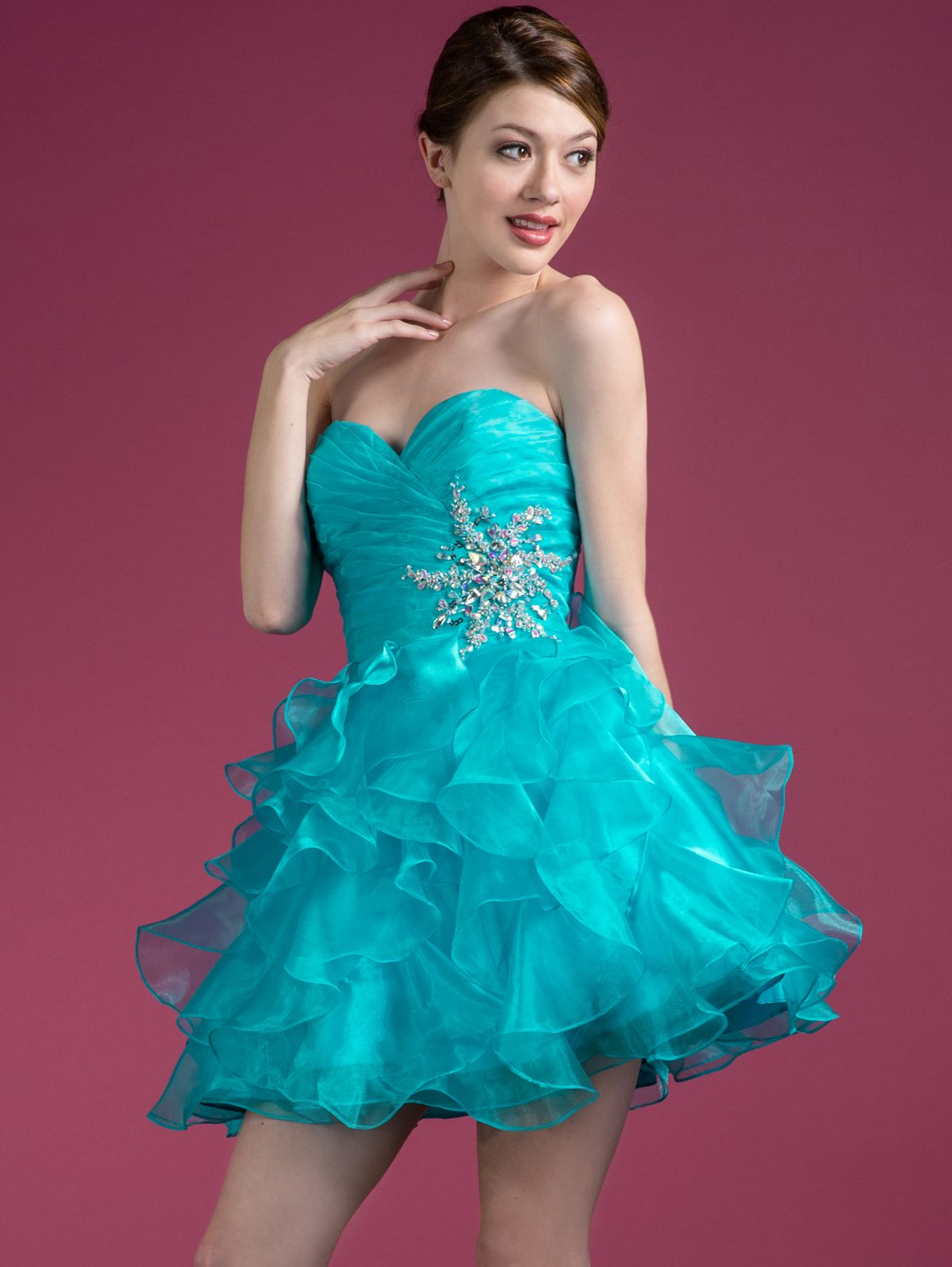 Turquoise_Pleated_Layered_Cocktail_Dress- | Petite Cocktail Dress ...