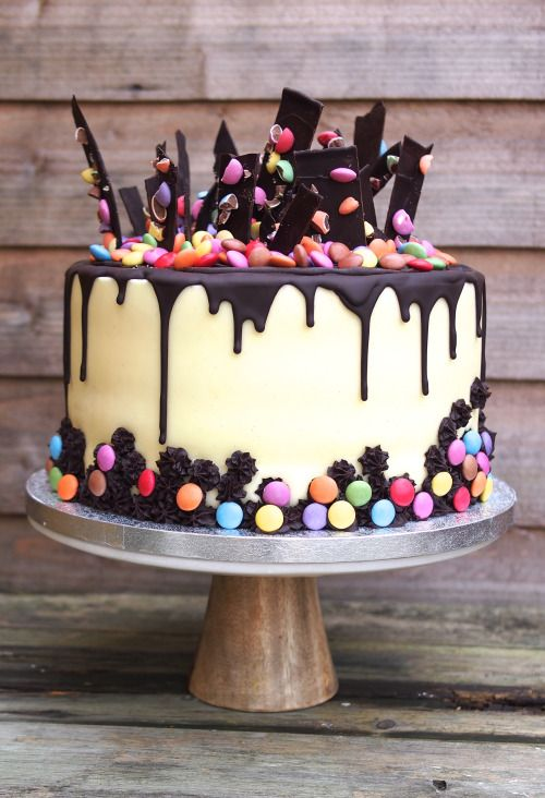 Chocolate drip and shard cake with smarties  Treat Yourself