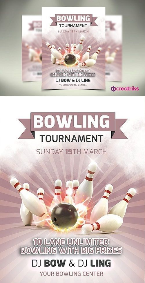 Bowling Flyer 1354683 PSD исходники Pinterest Flyers and Bowling - bowling flyer template free