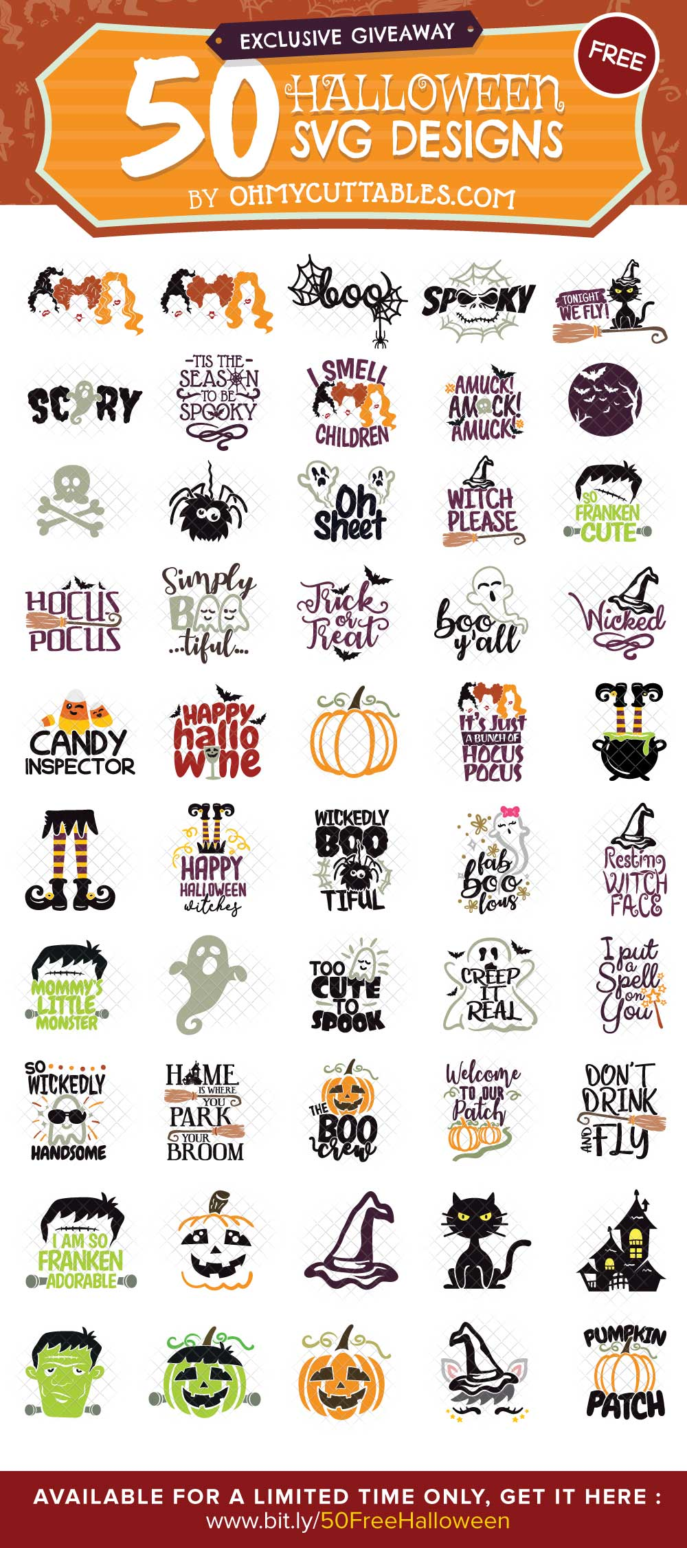 SPECIAL OFFER Halloween SVG Free Bundle OhMyCuttables