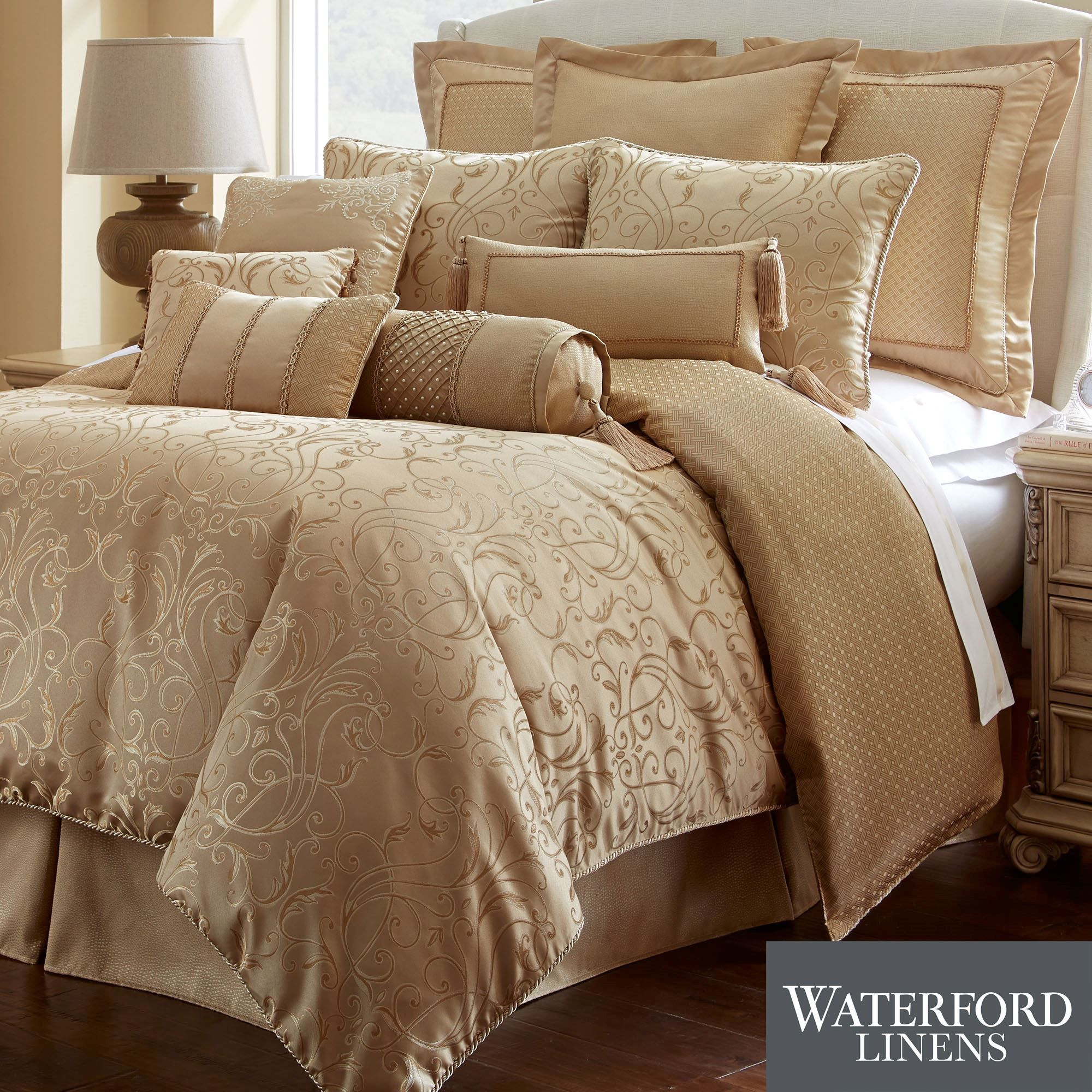 lynath gold comforter bedding by waterford linens  gold comforter  - lynath gold comforter bedding by waterford linens