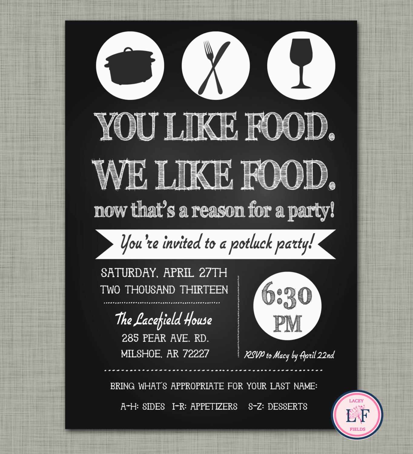 Chalkboard pot luck party invite- just because party ...
