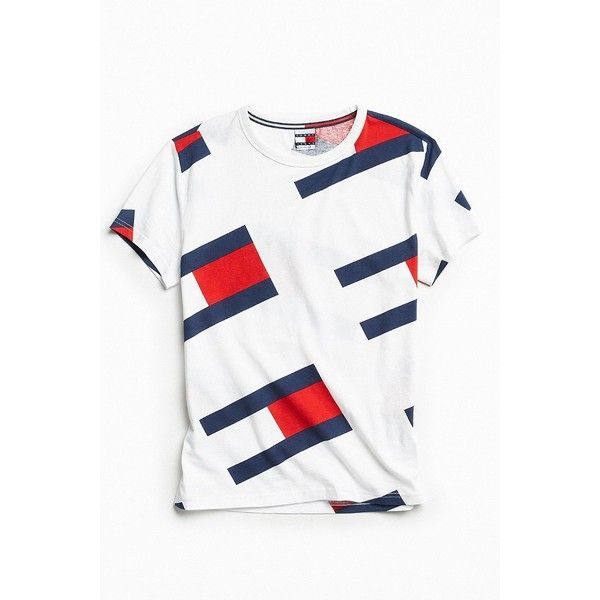 4509114d Tommy Hilfiger '90s Flag Tee ($50) ❤ liked on Polyvore featuring men's  fashion, men's clothing, men's shirts, men's t-shirts, mens patterned t  shirts, ...