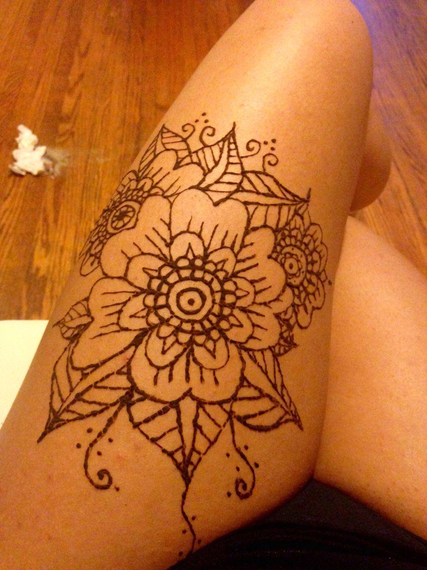 Thigh Henna Tattoo Floral Thigh Henna Thigh Tattoo Henna Tattoo