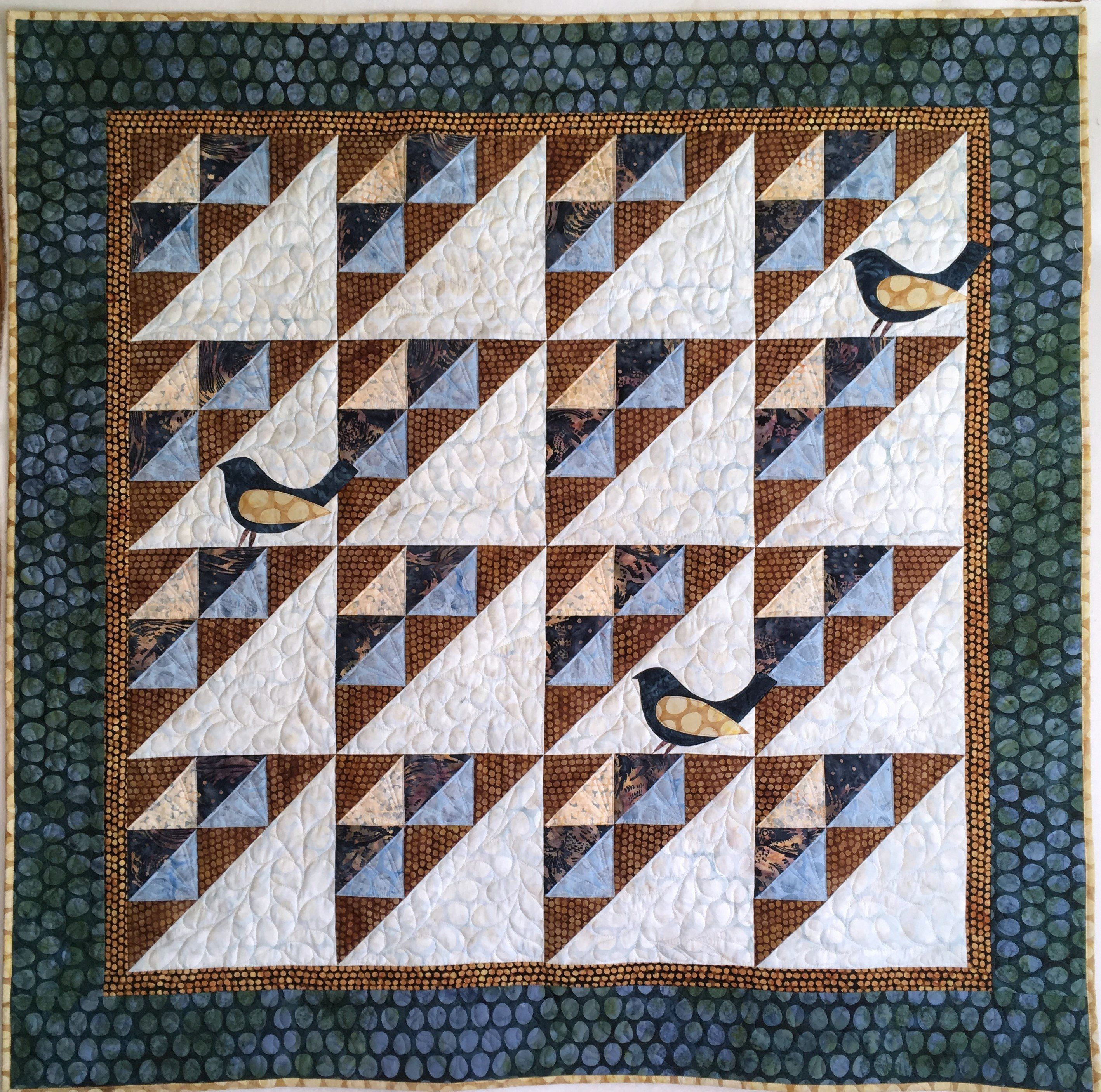 Batik Lap Quilt Or Wall Hanging, Brown And Blue Bird