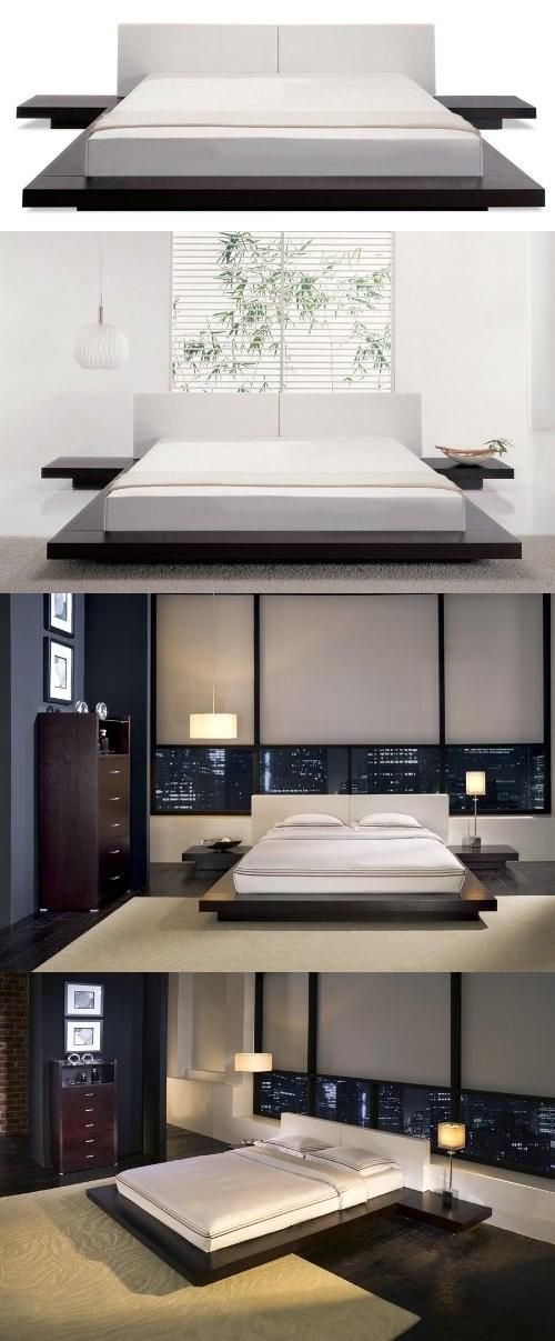 Asian Inspired Platform Bed In Wenge Finish King Mattress Not Included Made Of Solid