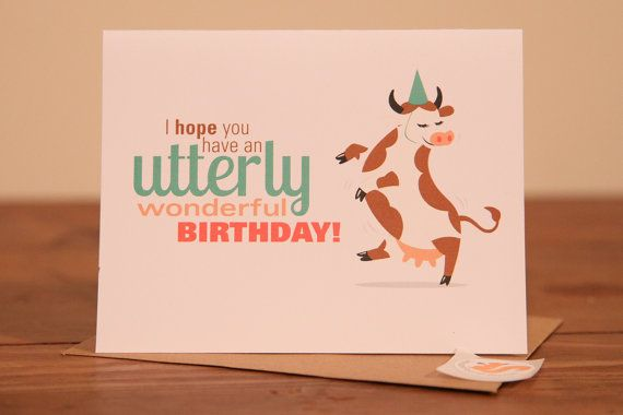 Birthday Cards By Text ~ Dancing cow birthday card happy party hat utterly utter