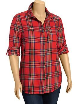 Plus Size Plaid Flannel Button-Front Shirts | Old Navy