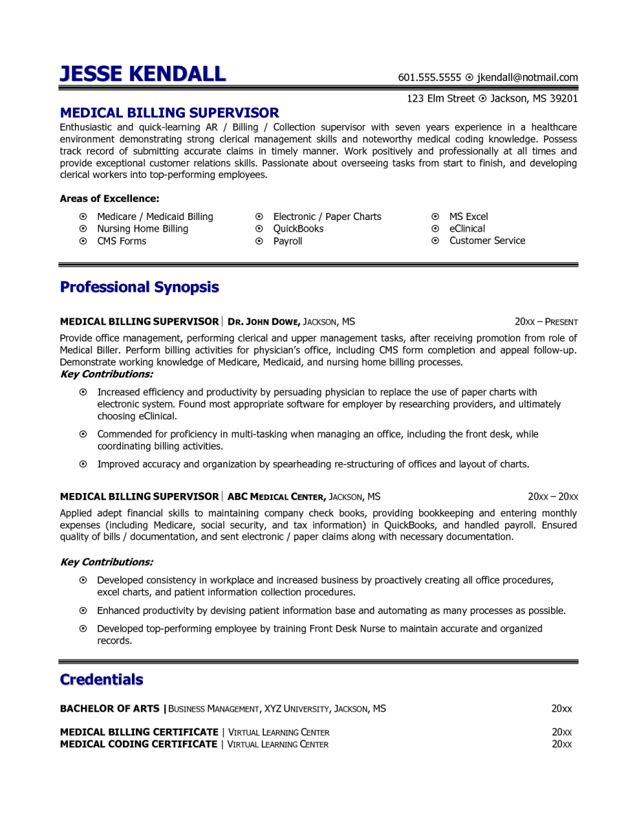 sample medical billing resume medical billing resume ... - Medical Billing Resume Examples