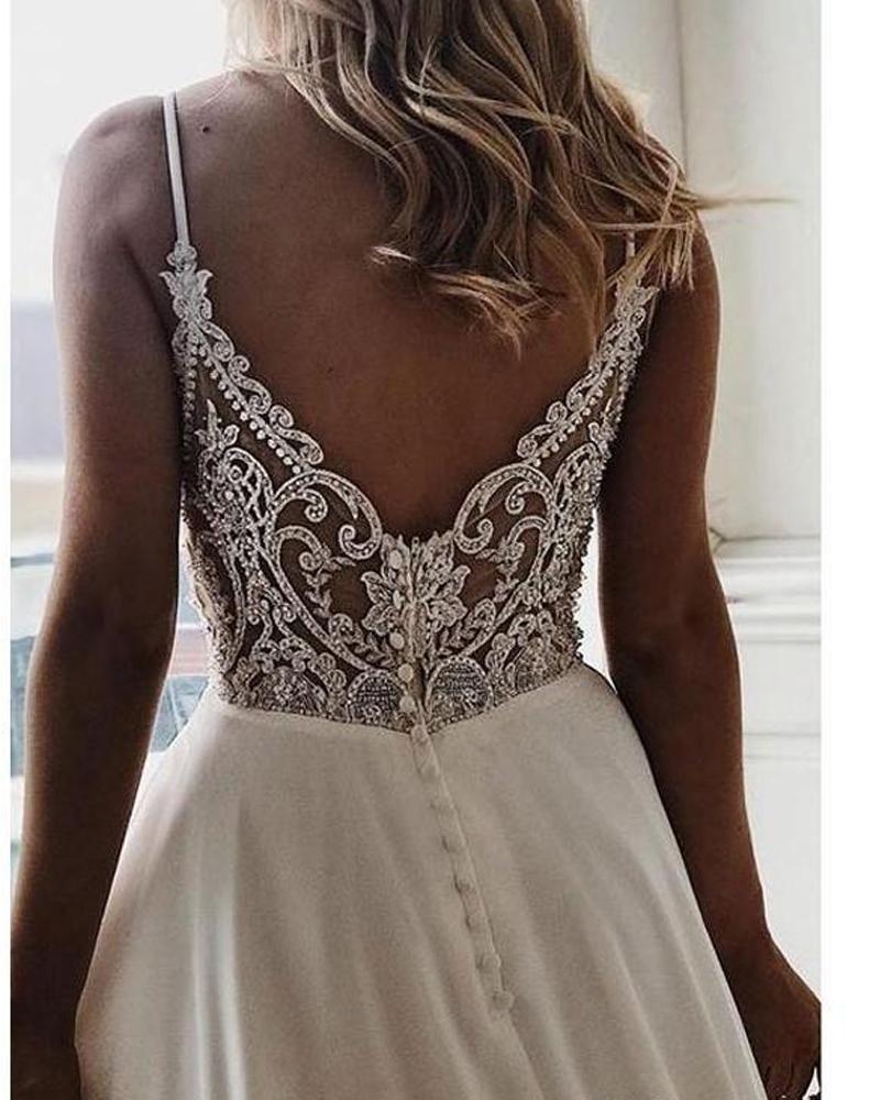 Photo of onlybridals Einfache V-Ausschnitt Chiffon A Linie Boho Beach Brautkleider 2020 Günstige Custom Brautkleid Vestidos De Novia