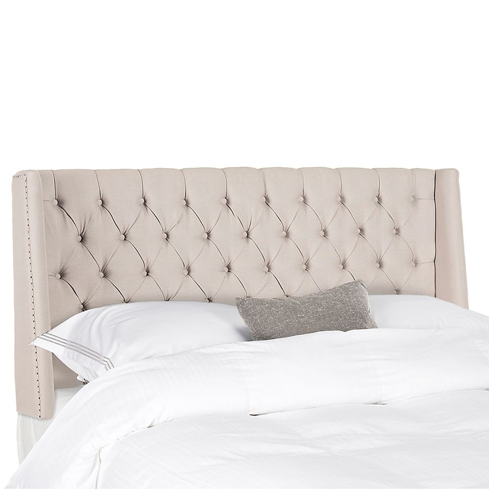 Safavieh London Queen Upholstered Headboard In Taupe Upholstered
