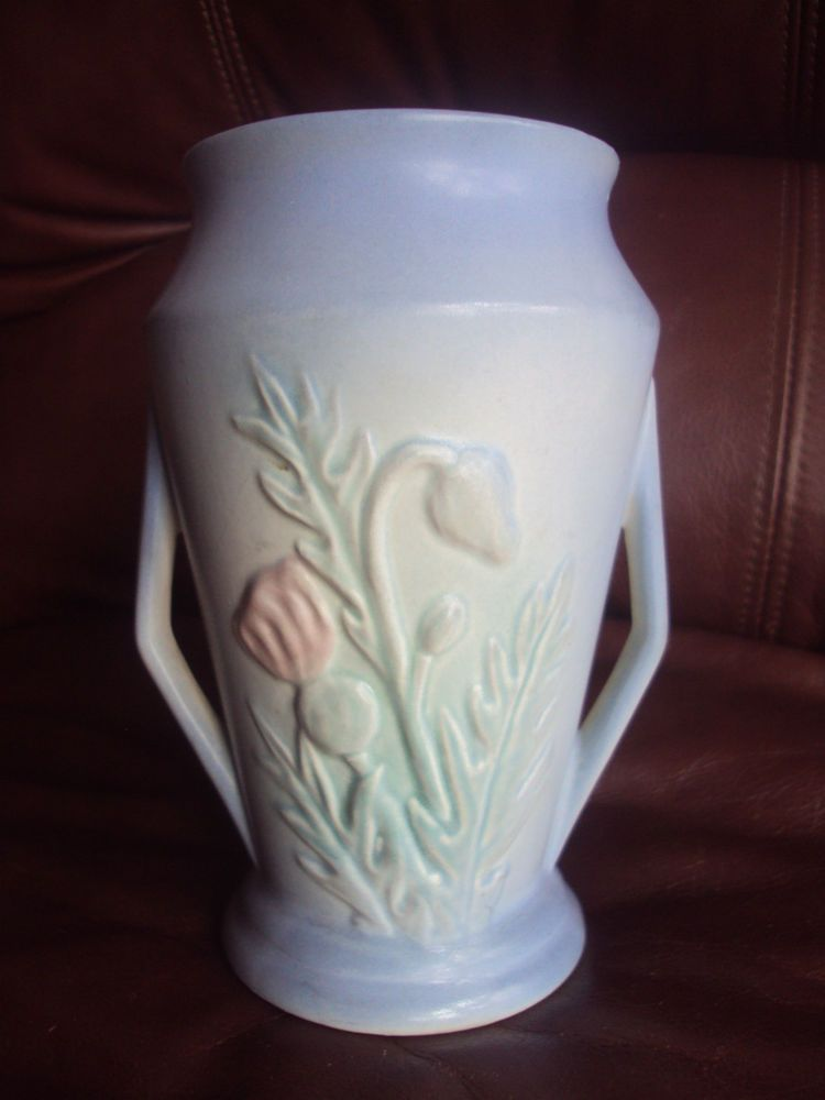Vintage Original 1940s Hull Thistle Matte Turquoise 2 Handle Vase
