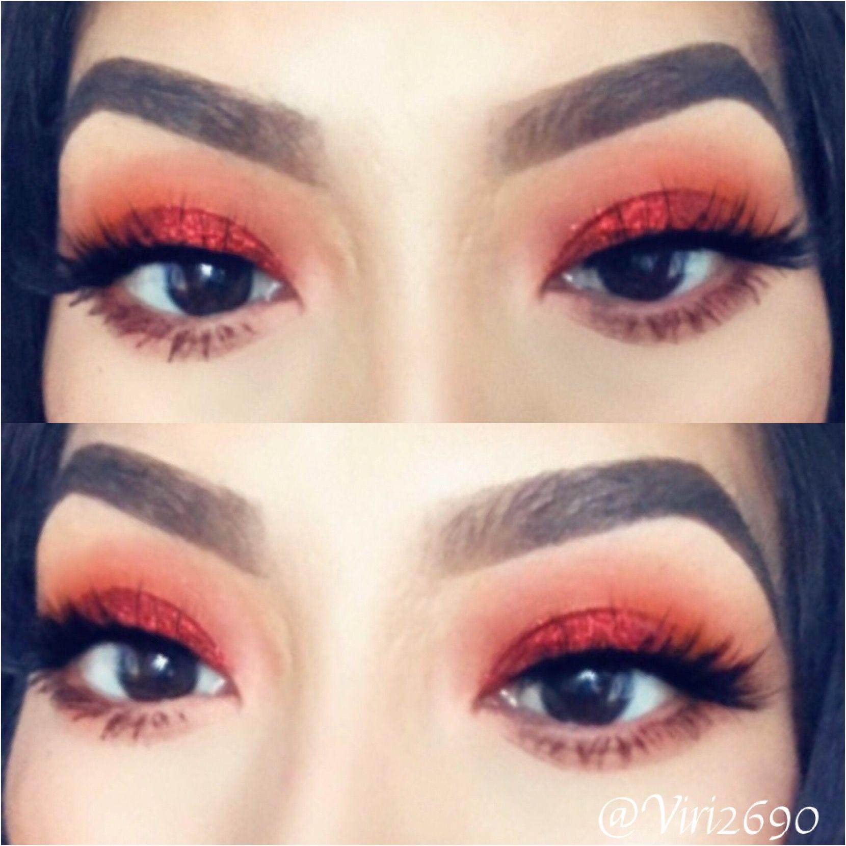 Red glitter eyeshadow look Red glitter eyeshadow