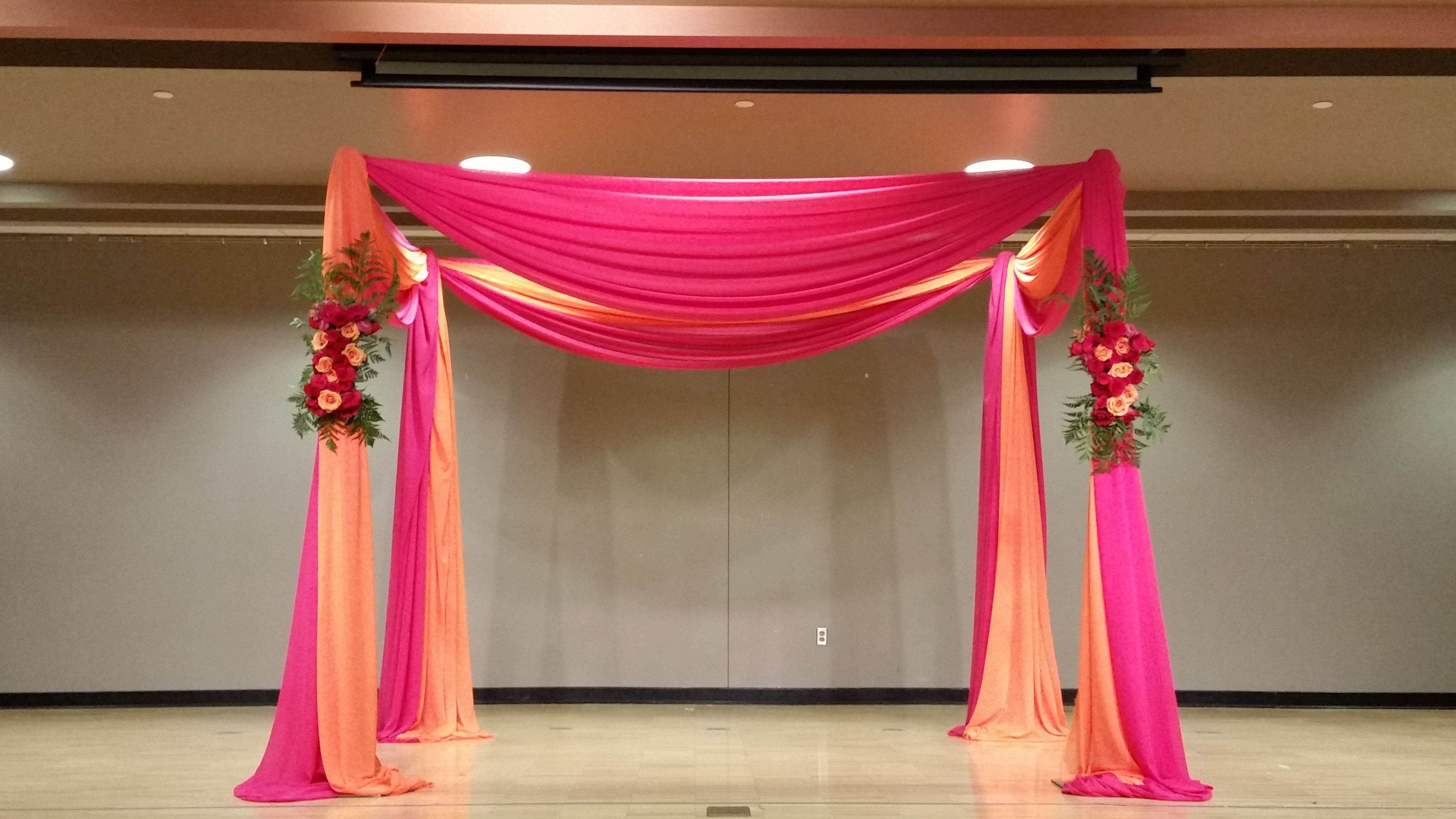 Incredible Hot Pink And Orange Mandap With Floral Accents At Mn Hindu Interior Design Ideas Inamawefileorg