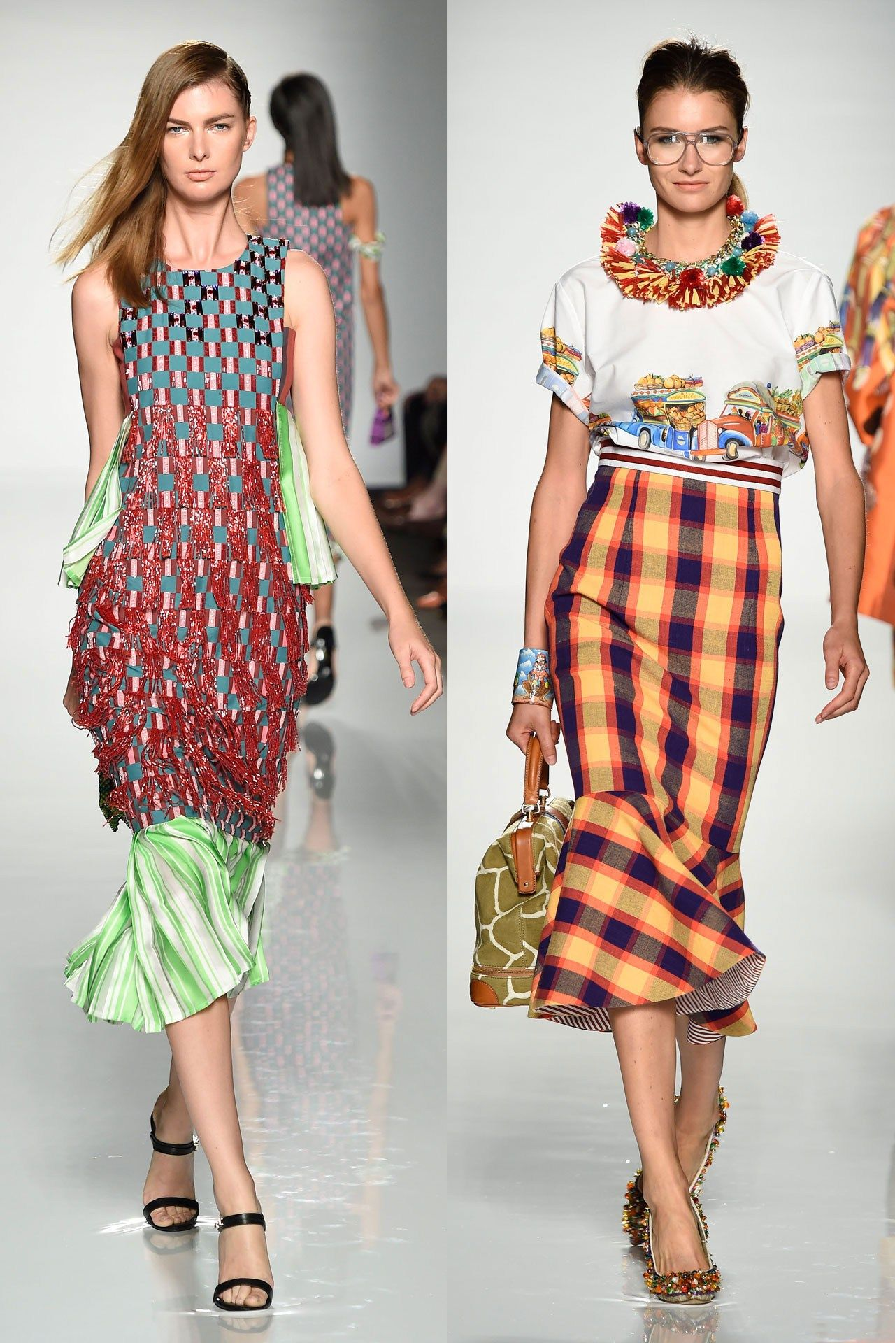 Looks from Lisa Folawiyo (left) and Stella Jean (right).