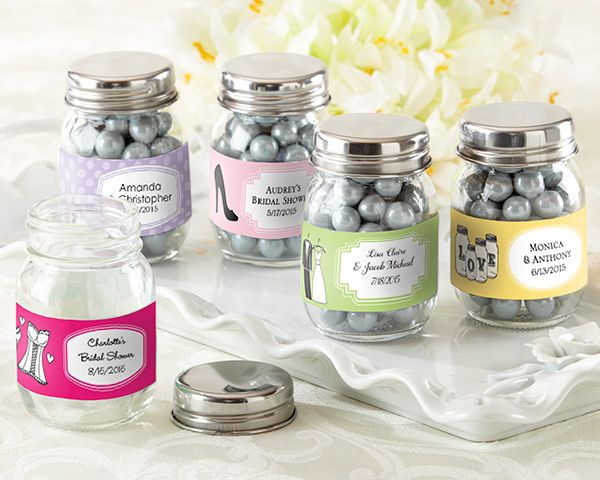 Personalized Mini Mason Jar Wedding Favors Set Of 12