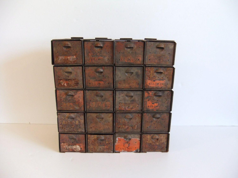 Vintage Metal Nuts And Bolts Bin 3 Metal Storage Bins Storage Bin Storage Bins