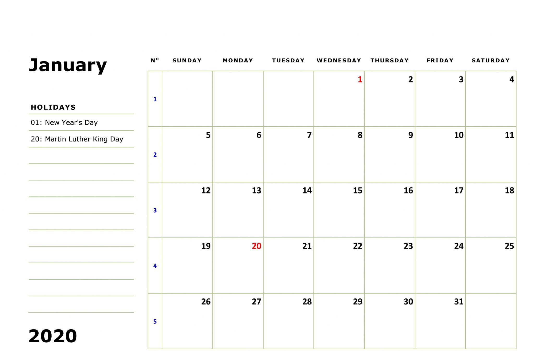 January 2020 Calendar Holidays Holiday Calendar Printable