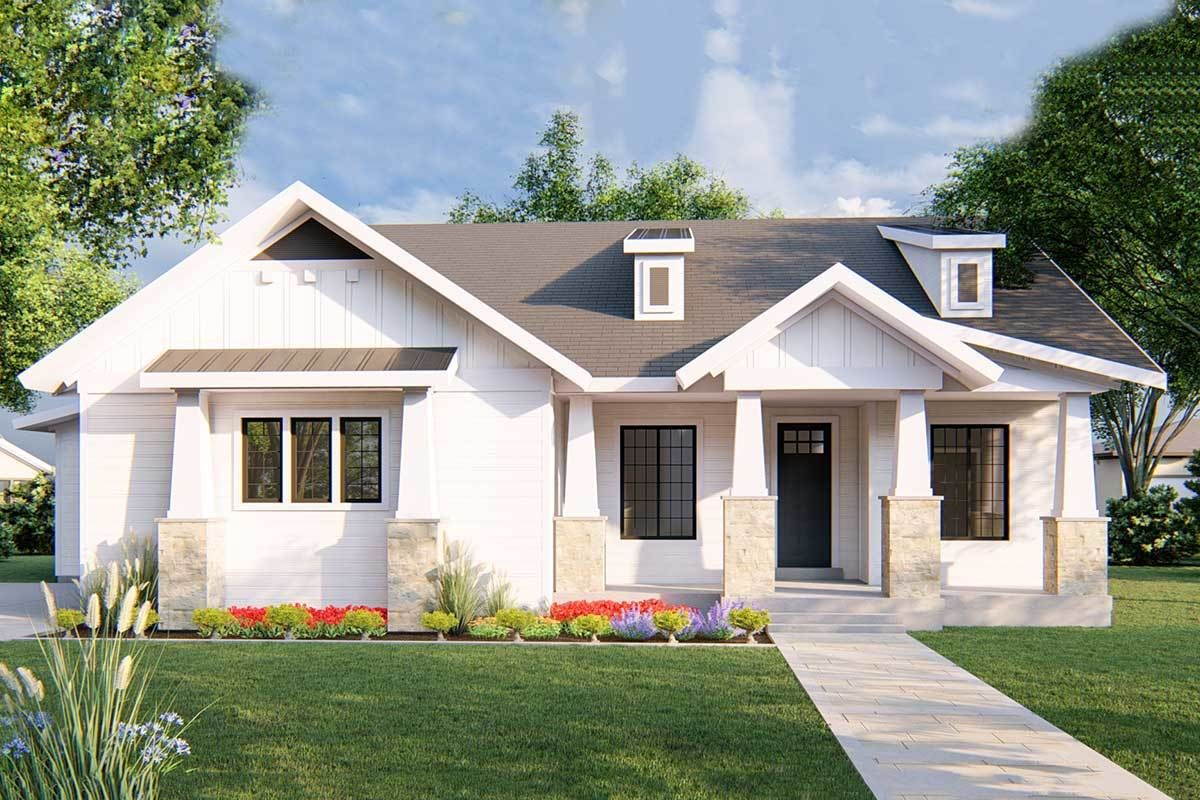 Plan 910043whd Exclusive One Story New American House Plan With Alternative Exteriors In 2021 American Houses House Exterior House Plans