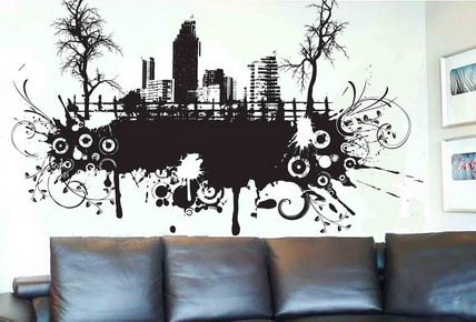 abstract wall stickers for living room | abstract art city black