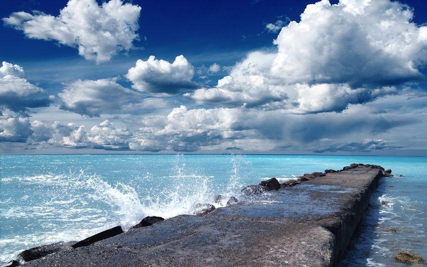 пейзаж, мост, океан, море, красота, небо, облака, брызги ...