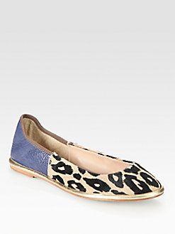 Diane von Furstenberg - Botswana Leather and Leopard-Print Calf Hair Ballet Flats