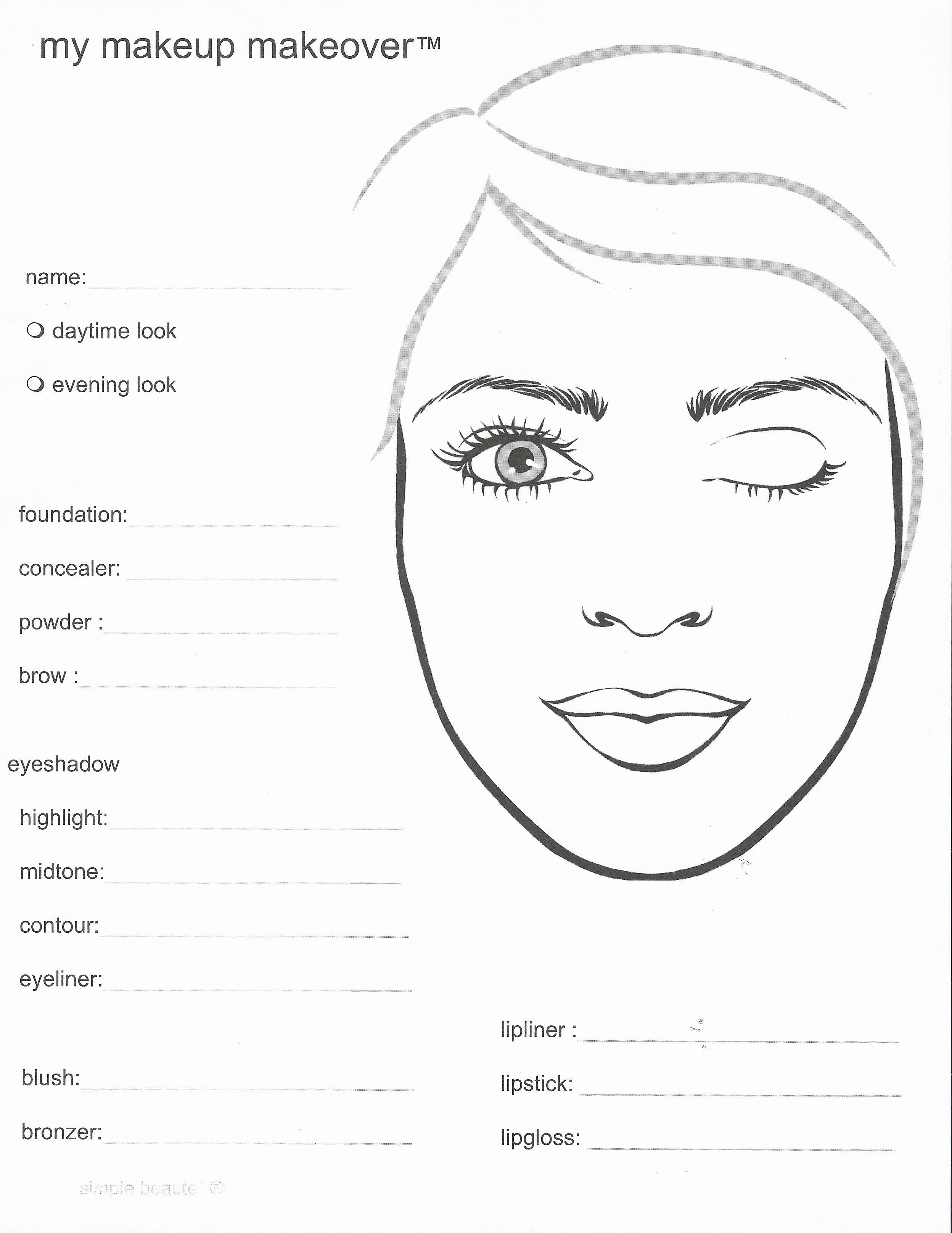 Mary Kay Makeup Face Sheets In