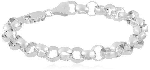 """Sterling Silver Round Link Bracelet, 7"""""""