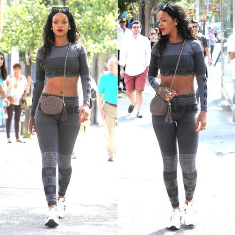 29c4c46f0fa7a5 Rihanna wearing Alexander Wang for H and M grey crop top and leggings