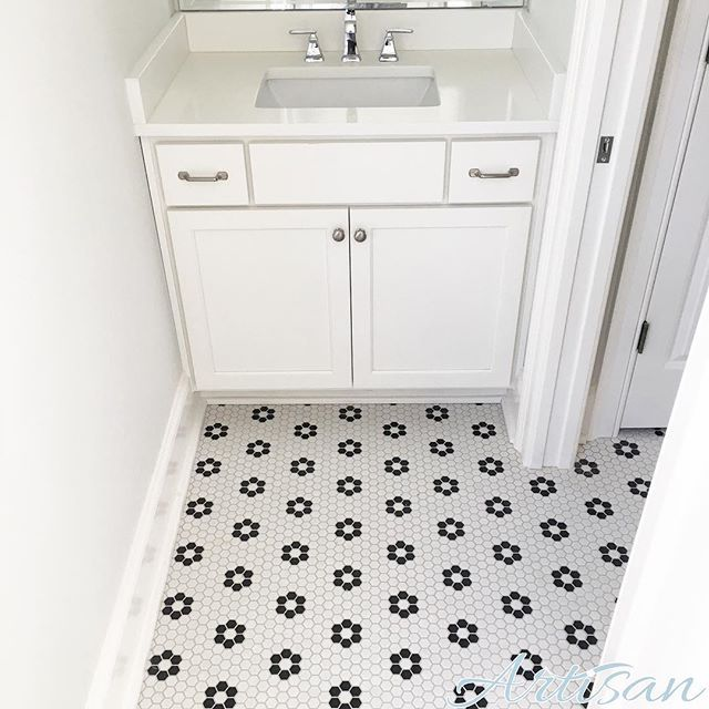 Classic back and white hex tiles in the Jack and Jill bathroom of our Moonseed Cottage in Norton Commons.  #moonseedcottage #nortoncommons