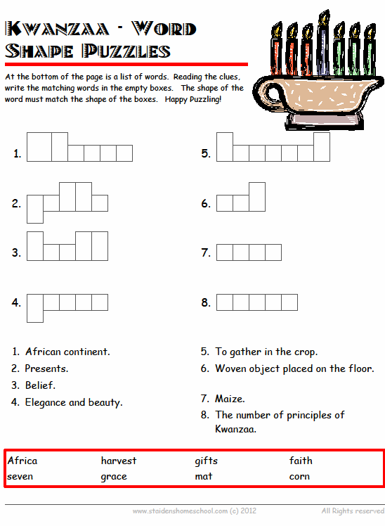 Free Kwanzaa Vocabulary Worksheets For Grades 1 3
