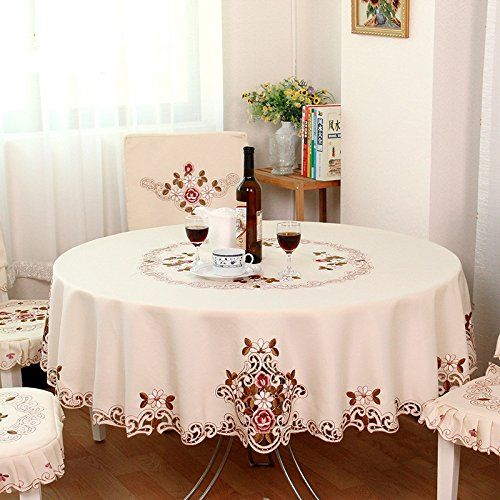 FADFAY Home Textile,Modern American Country Style Vintage Handmade Table  Cloth,Designer Round Table