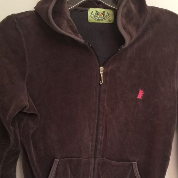 Juicy Couture sweatshirt Juicy Couture velour zippered sweatshirt. Awesome condition! Juicy Couture Tops Sweatshirts & Hoodies