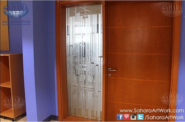 Clear Glass With Sandblasted Modern Design For Door Frame And Inserts Complimented With Royal Handles An Window Design Bathroom Design Modern Design