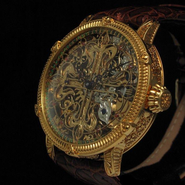 Masterpiece mens 1908 patek philippe cie geneve vintage skeleton watch with calatrava for Patek philippe skeleton
