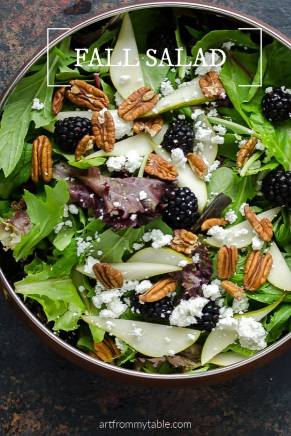 Mixed Greens Salad Recipe with Pears and Blackberries images