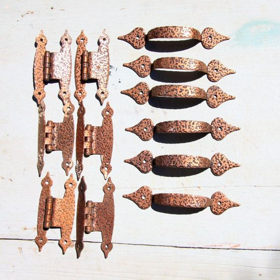 Set Of 6 Vintage Forged And Hammered Copper H Hinges Drawer Pulls Cabinet Hardware Mid Century