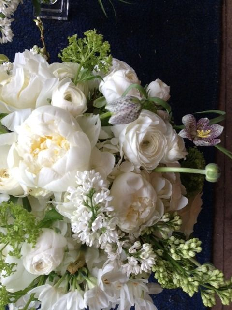 White peonies, white Lilacs and white Mums