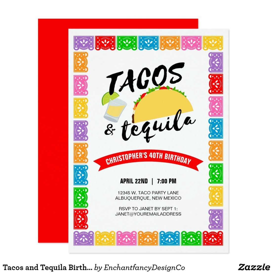 Tacos and Tequila Birthday Party Invitation | Taco Party Ideas ...