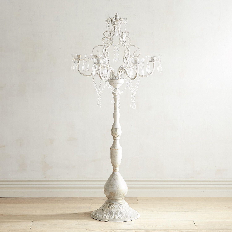Gem Floor Candelabra Candle Holder White