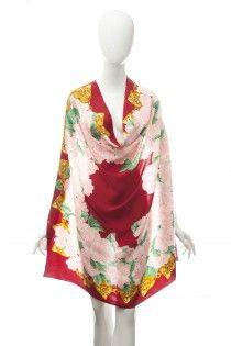 CHANEL nádherný hedvábný šátek s kameliemi  b03f4ca10d4