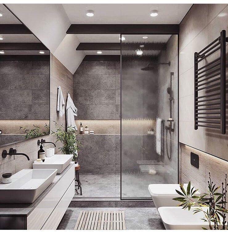 Pin de jose jerves en bathrooms ba os bonitos ba os - Banos grises ...