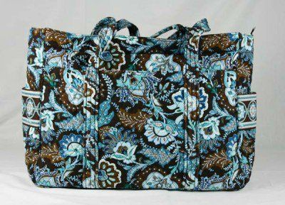 edb26ef1a99d Vera Bradley Baby Bag JAVA BLUE diaper weekend overnight super tote XL  carry all Retired NWT