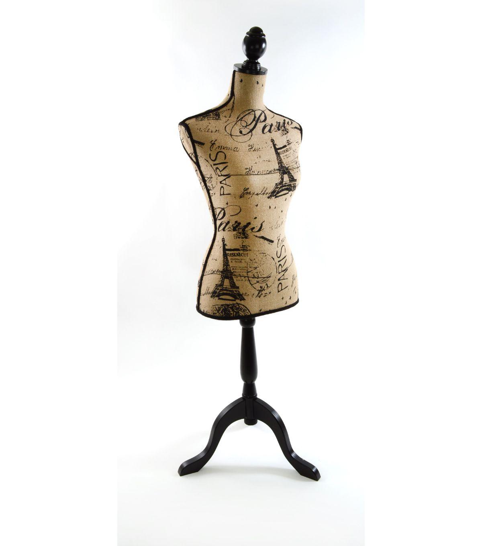 Decorative Burlap Dressform Paris PrintDecorative Burlap