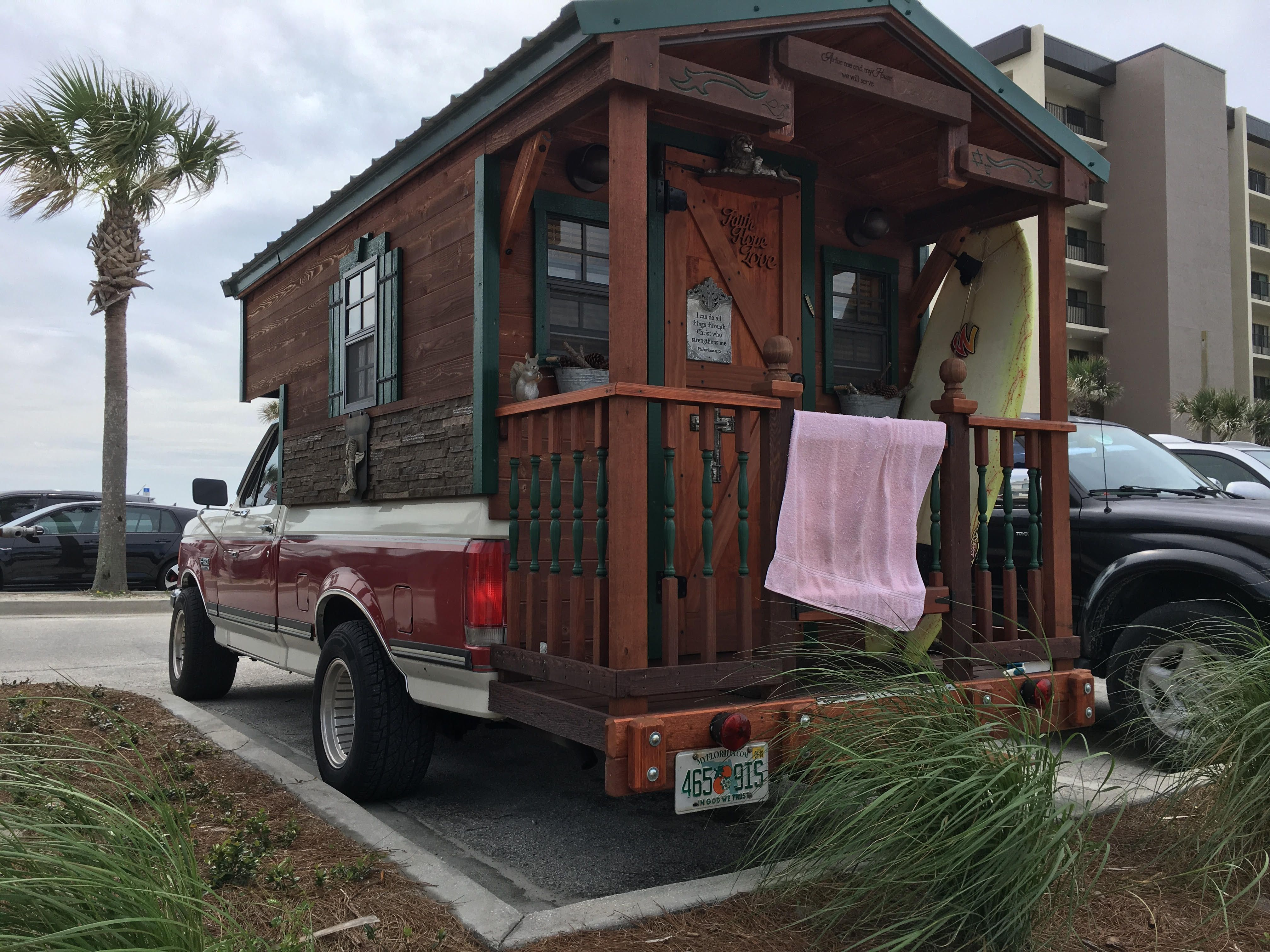 Spotted Tiny House On A Ford Truck At Jacksonville Beach Florida