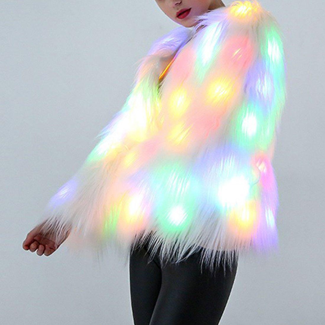 Costumes Female Costume Led Luminous Clothes Jacket Bar Dance Show Faux Fur Coat